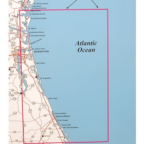 Map Of Georgia And Florida Coast.Top Spot Fishing Map N227 Northeast Florida South Georgia Offshore