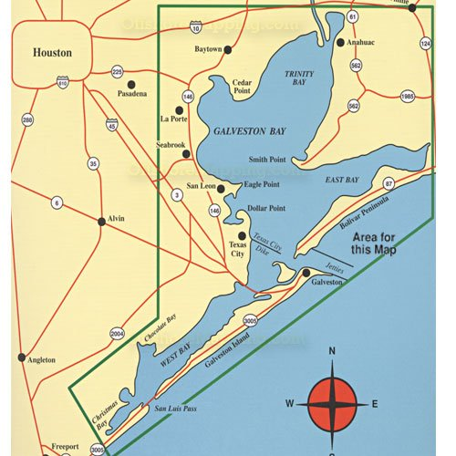 NLine Fishing Map F102 Galveston Bay Area