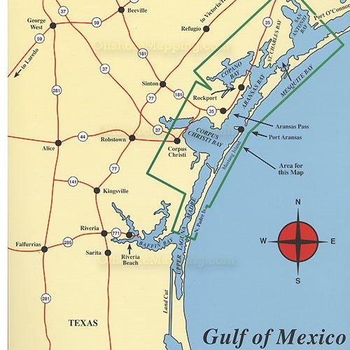 Hook-N-Line F115 Pêche Map for Lower Laguna Madre au Texas