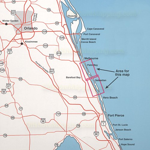 Top spot fishing map n217 sebastian inlet and palm bay for Best fishing spots in florida