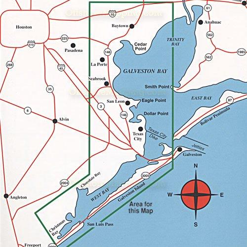 Hook n line fishing map f103 west galveston bay for Bay area fishing spots