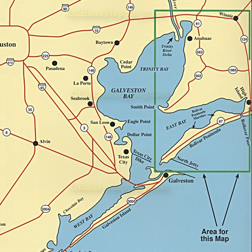 Hook n line fishing map f104 east galveston bay for Fishing spots in galveston