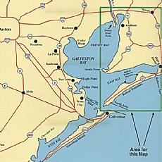 Hook n line fishing map f104 east galveston bay texas for King s fish house mission valley