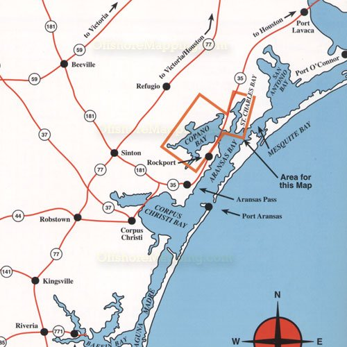 Hook n line fishing map f133 copano bay area for Fly fishing bay area