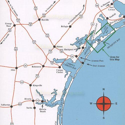 Hook n line fishing map f134 mesquite bay to lower san for Fishing near san antonio